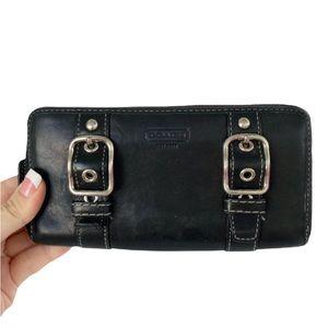Vintage COACH Zoe Black Leather Purple Interior Double Buckle Zip Around Wallet